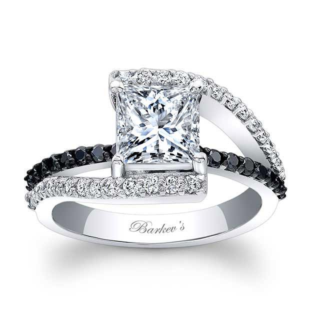 Black Diamond Split Shank Princess Cut Ring
