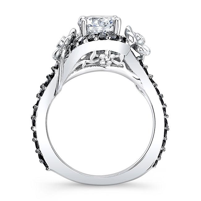 Flower Engagement Ring With Black Diamonds 7936LBK Image 2