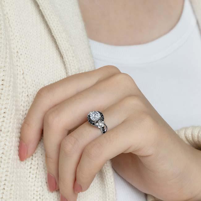 Flower Engagement Ring With Black Diamonds 7936LBK Image 3