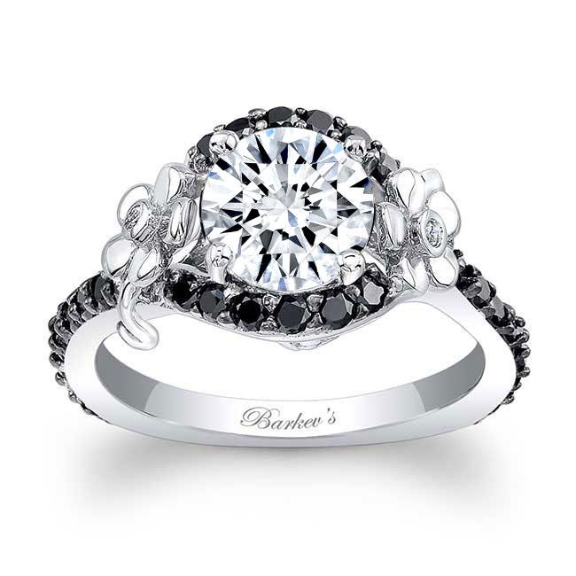 Flower Engagement Ring With Black Diamonds 7936LBK Image 1