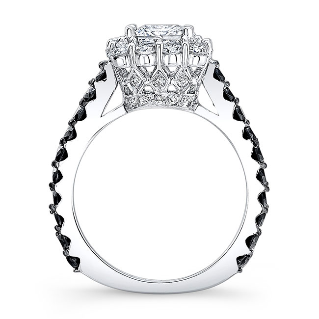 Princess Cut Moissanite and Black Diamond Engagement Ring MOI-7939LBK Image 2