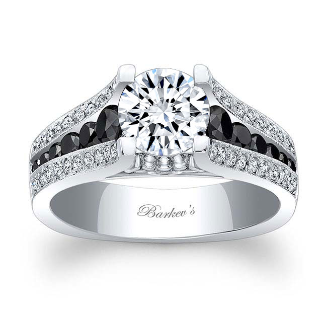 Moissanite and Black Diamond Engagement Ring MOI-7944LBK