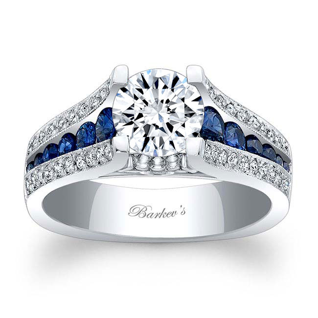 Moissanite and Blue Sapphire Engagement Ring MOI-7944LBS