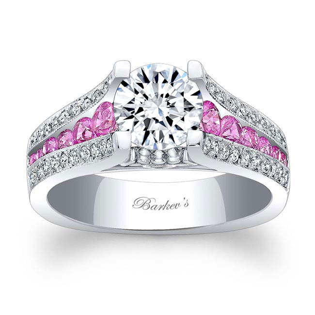 Moissanite and Pink Sapphire Engagement Ring MOI-7944LPS