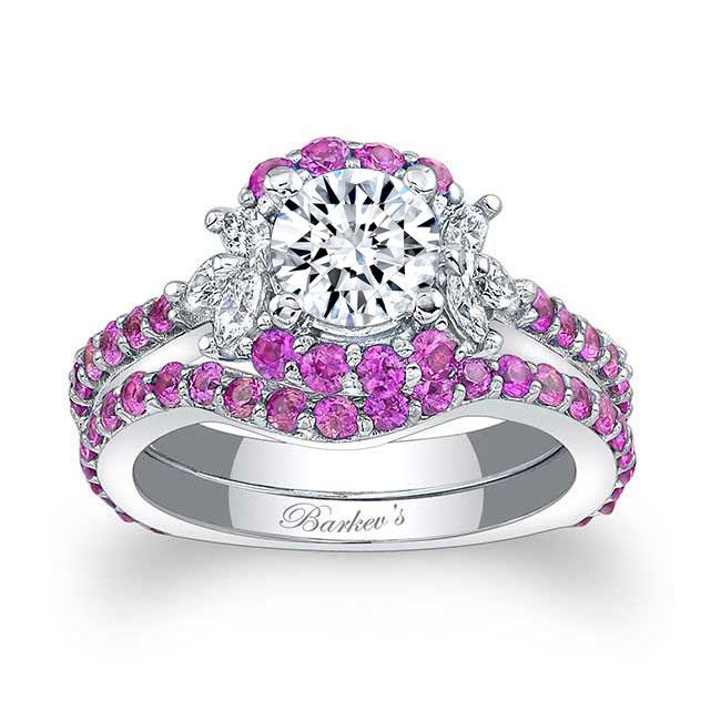 Pink Sapphire Bridal Set 7949SPS
