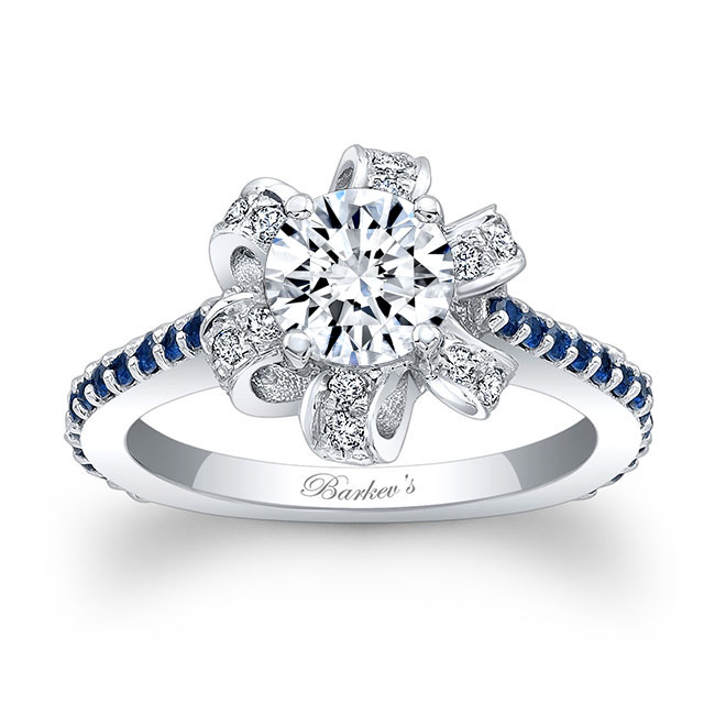 Moissanite and Blue Sapphire Engagement Ring MOI-7958LBS
