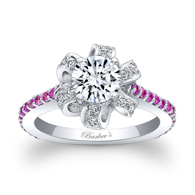 Moissanite and Pink Sapphire Engagement Ring MOI-7958LPS