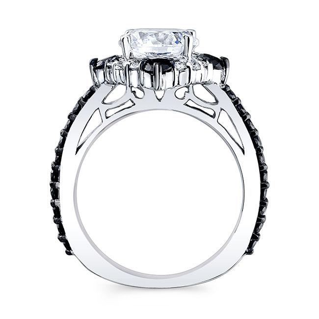 2 Carat Moissanite Halo Black And White Diamond Ring Image 2