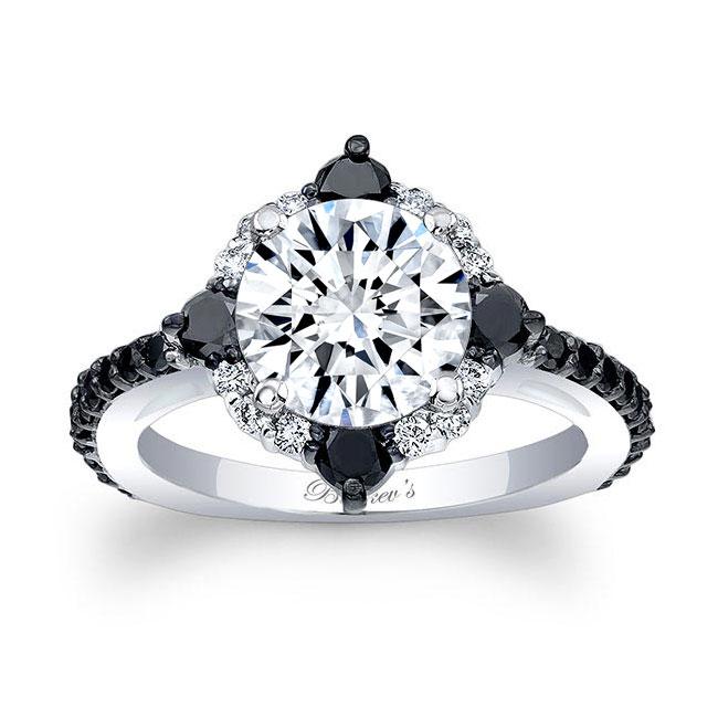 2 Carat Moissanite Halo Black And White Diamond Ring Image 1