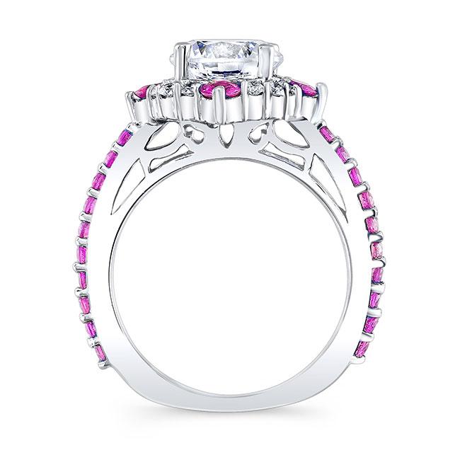 2 Carat Moissanite Halo Pink Sapphire And Diamond Ring Image 2