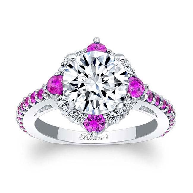 2 Carat Moissanite Halo Pink Sapphire And Diamond Ring