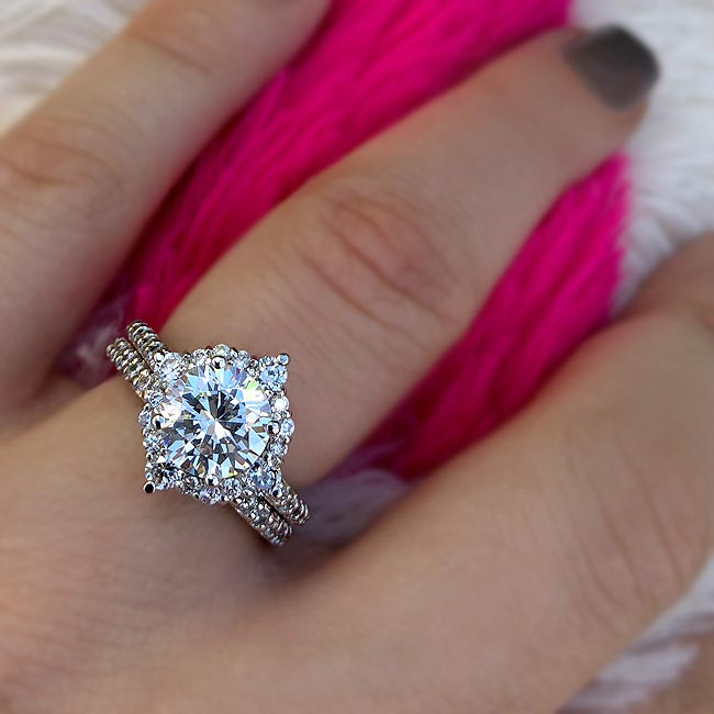 2 Carat Halo Diamond Bridal Set Image 3