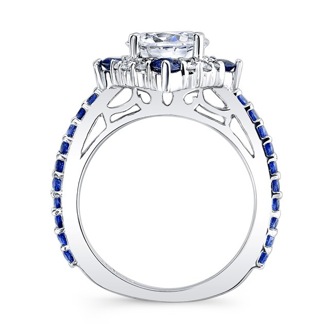 2 Carat Moissanite Halo Sapphire And Diamond Set With Bands Image 2