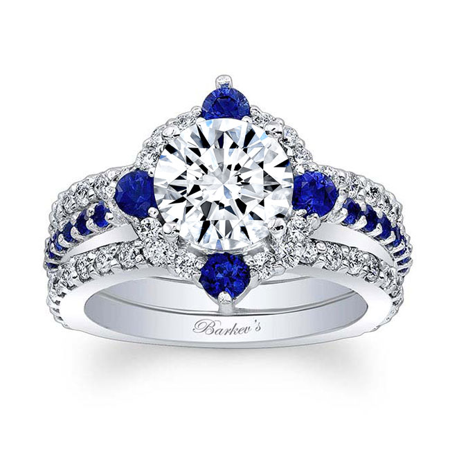 2 Carat Halo Sapphire And Diamond Set With 2 Bands