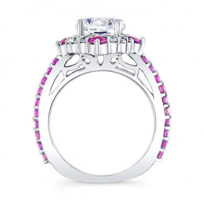 2 Carat Halo Pink Sapphire And Diamond Set With 2 Bands Image 2