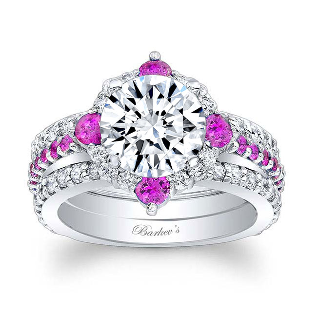 2 Carat Halo Pink Sapphire And Diamond Set With 2 Bands