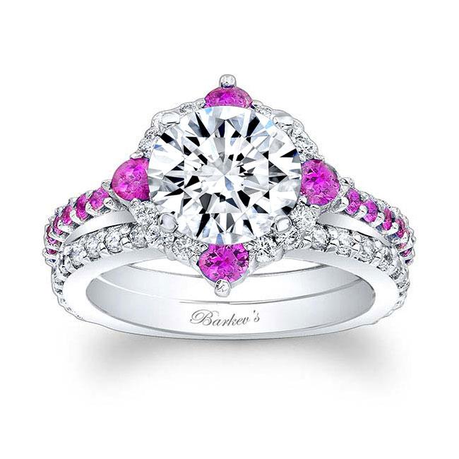 2 Carat Halo Pink Sapphire And Diamond Bridal Set