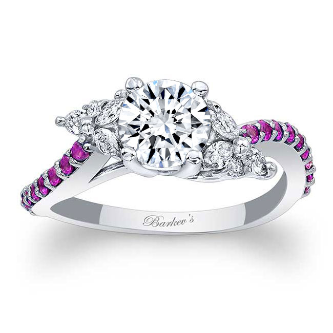 Moissanite and Pink Sapphire Engagement Ring MOI-7968LPS