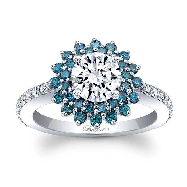 Blue Diamond Sunflower Ring Image 1