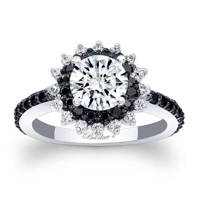 Black Diamond Moissanite Sunflower Ring