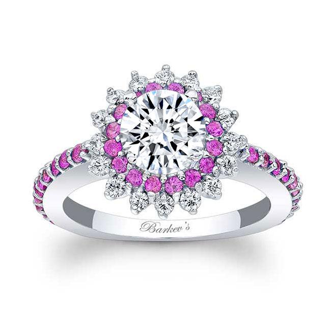 Pink Sapphire Moissanite Sunflower Ring
