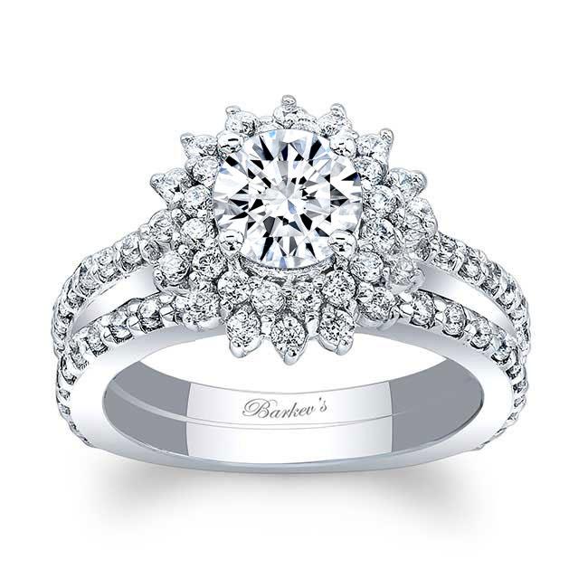 Moissanite Sunflower Wedding Ring Set