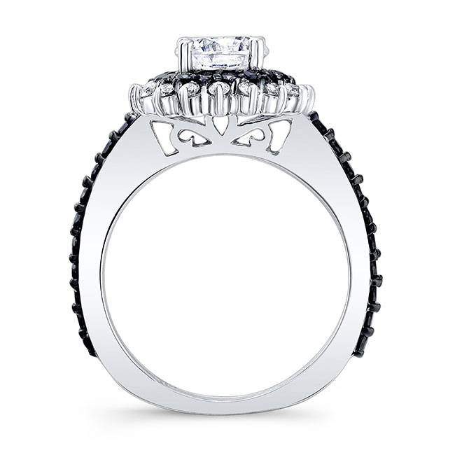 Black Diamond Sunflower Ring With Two Bands Image 2