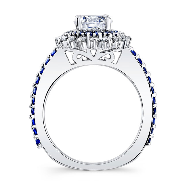 Sapphire Moissanite Sunflower Ring With Two Bands Image 2