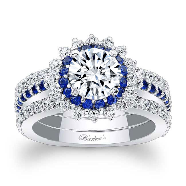 Sapphire Moissanite Sunflower Ring With Two Bands Image 1