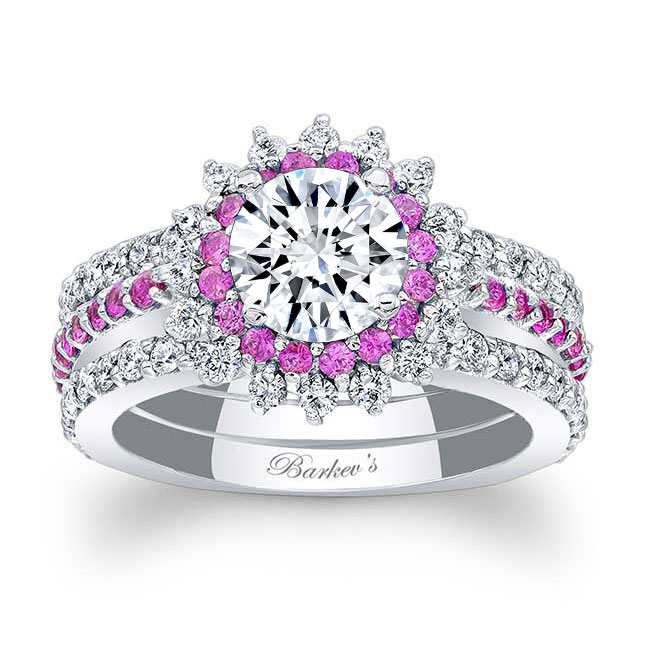 Pink Sapphire Sunflower Ring With Two Bands Image 1