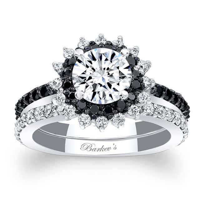 Black Diamond Moissanite Sunflower Wedding Set