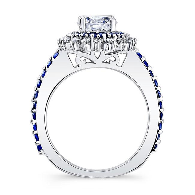 Sapphire Sunflower Wedding Ring Set Image 2