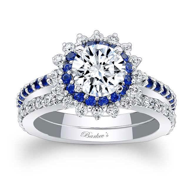 Sapphire Moissanite Sunflower Wedding Ring Set