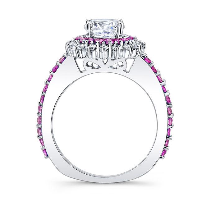 Pink Sapphire Sunflower Wedding Ring Set Image 2