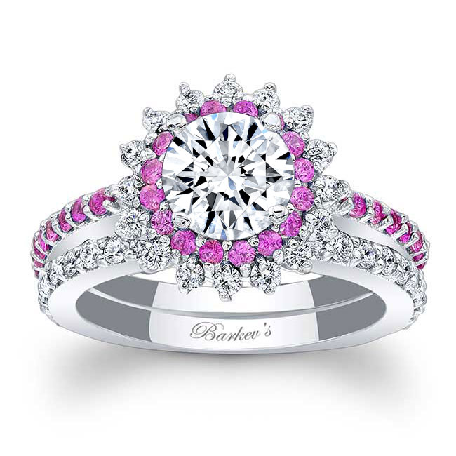 Pink Sapphire Moissanite Sunflower Wedding Ring Set