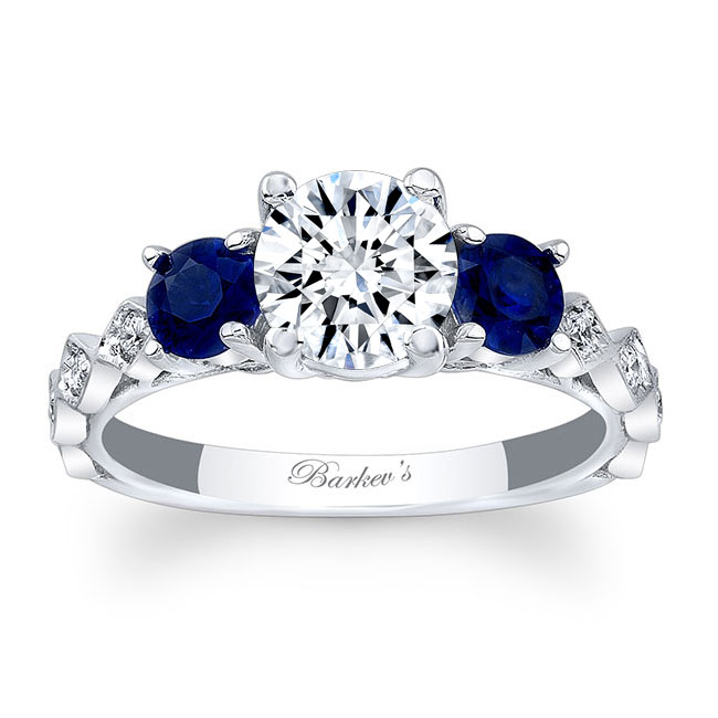 Moissanite and Blue Sapphire Engagement Ring MOI-7973LBS