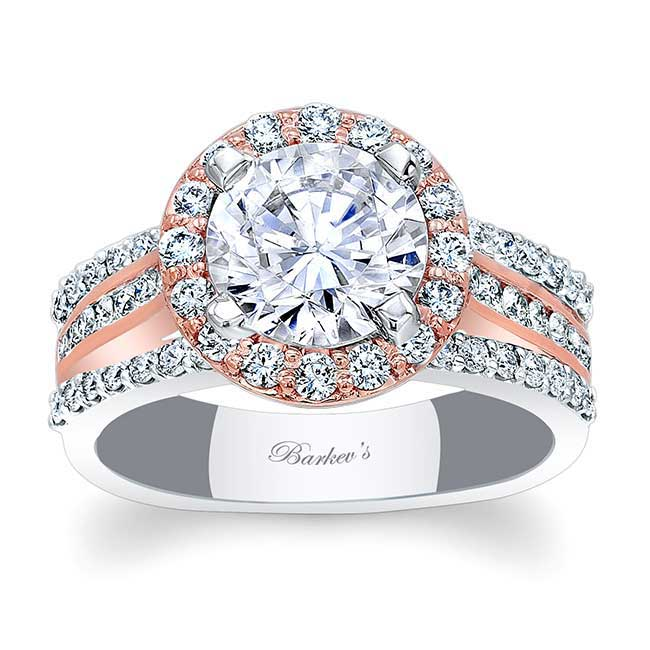 Channel Set Halo Moissanite Engagement Ring