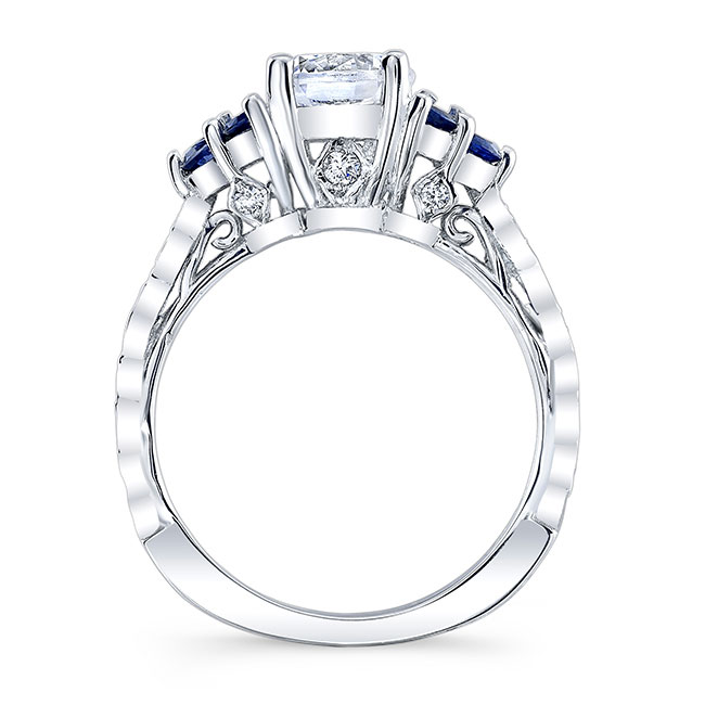 Moissanite and Blue Sapphire Engagement Ring MOI-7975LBS Image 2