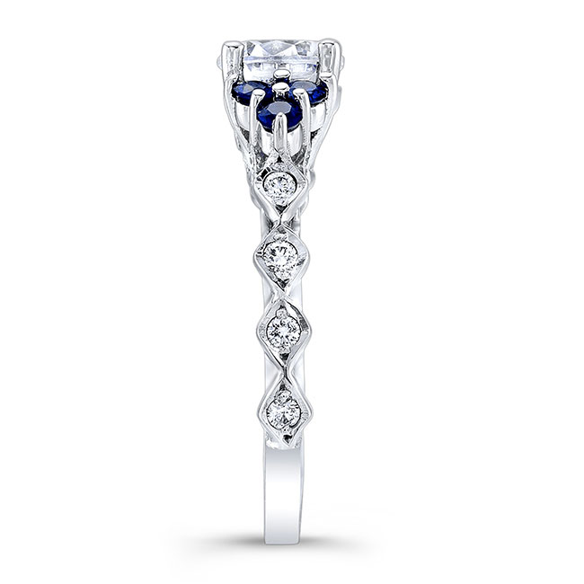 Moissanite and Blue Sapphire Engagement Ring MOI-7975LBS Image 3