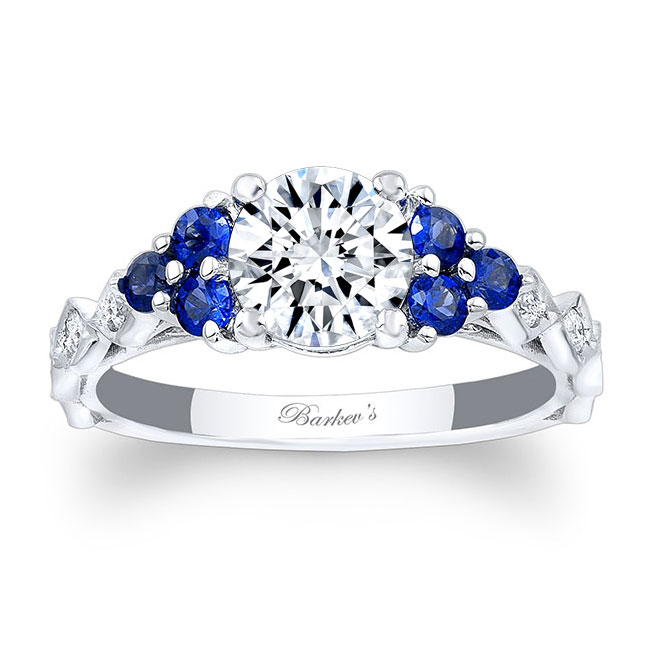 Moissanite and Blue Sapphire Engagement Ring MOI-7975LBS Image 1