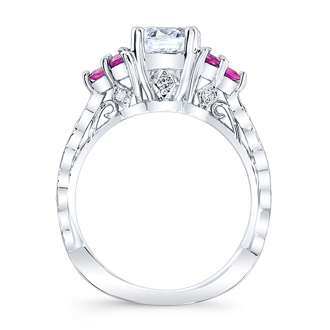 Moissanite and Pink Sapphire Engagement Ring MOI-7975LPS Image 2