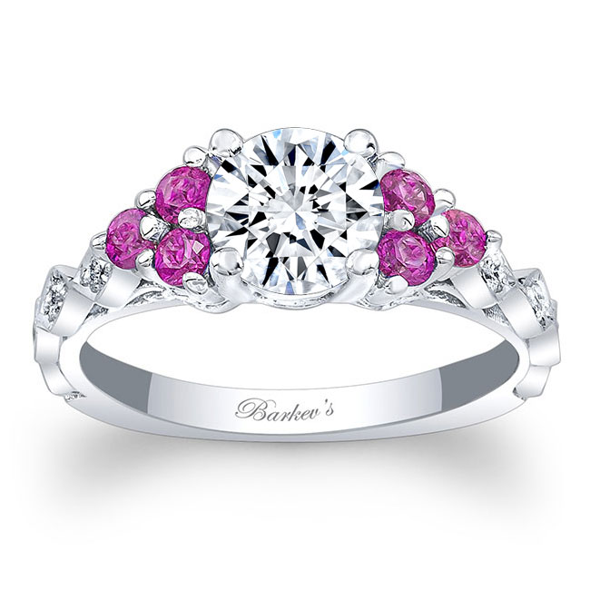 Moissanite and Pink Sapphire Engagement Ring MOI-7975LPS Image 1