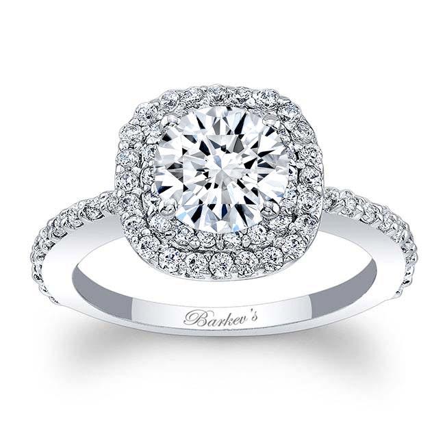 Double Halo Round Moissanite Engagement Ring Image 1