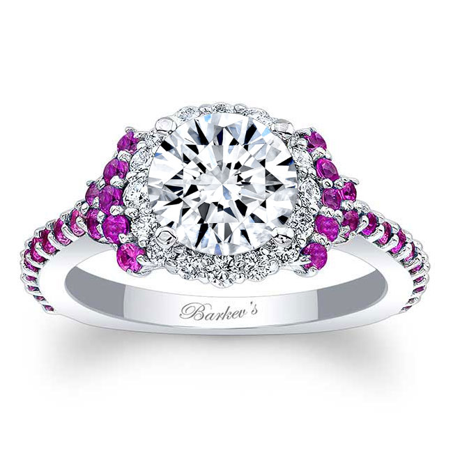 Pink Sapphire Accent Cluster Ring Image 1