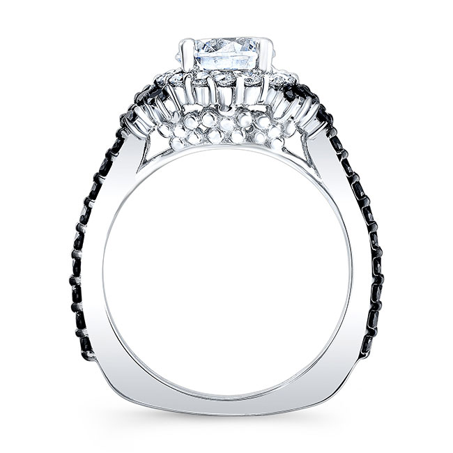 Black Diamond Accent Cluster Wedding Ring Set Image 2