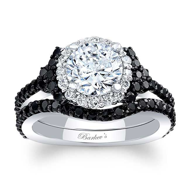 Black Diamond Accent Cluster Wedding Ring Set Image 1