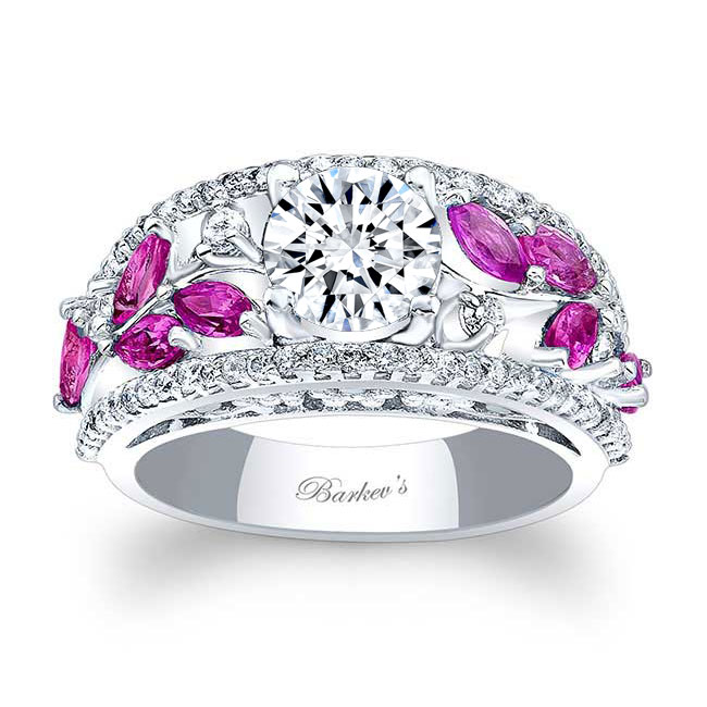 Moissanite and Pink Sapphire Engagement Ring MOI-7984LPS