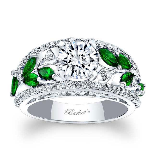 Moissanite and Tsavorite Engagement Ring MOI-7984LTSV