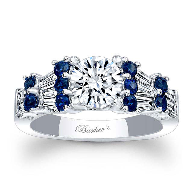 Moissanite and Blue Sapphire Engagement Ring MOI-7985LBS