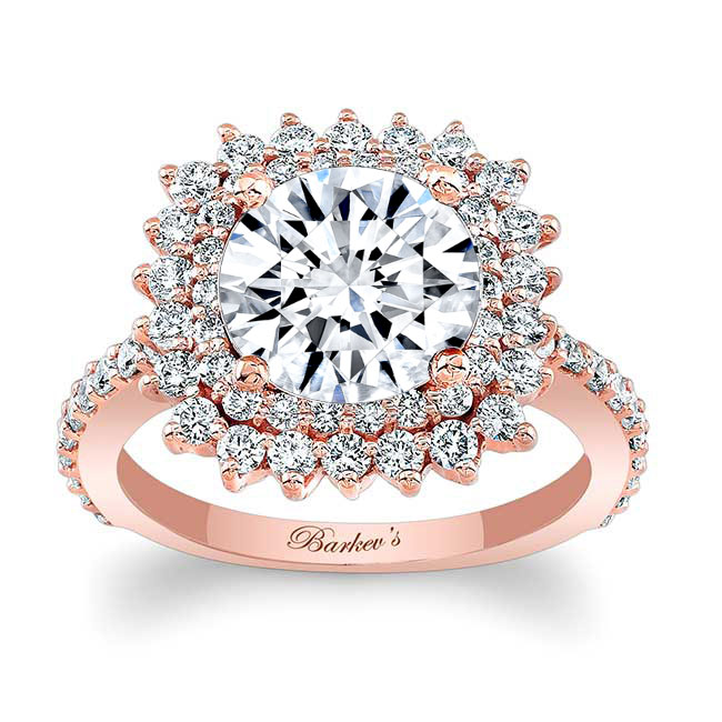 Halo Moissanite Engagement Ring MOI-7990L